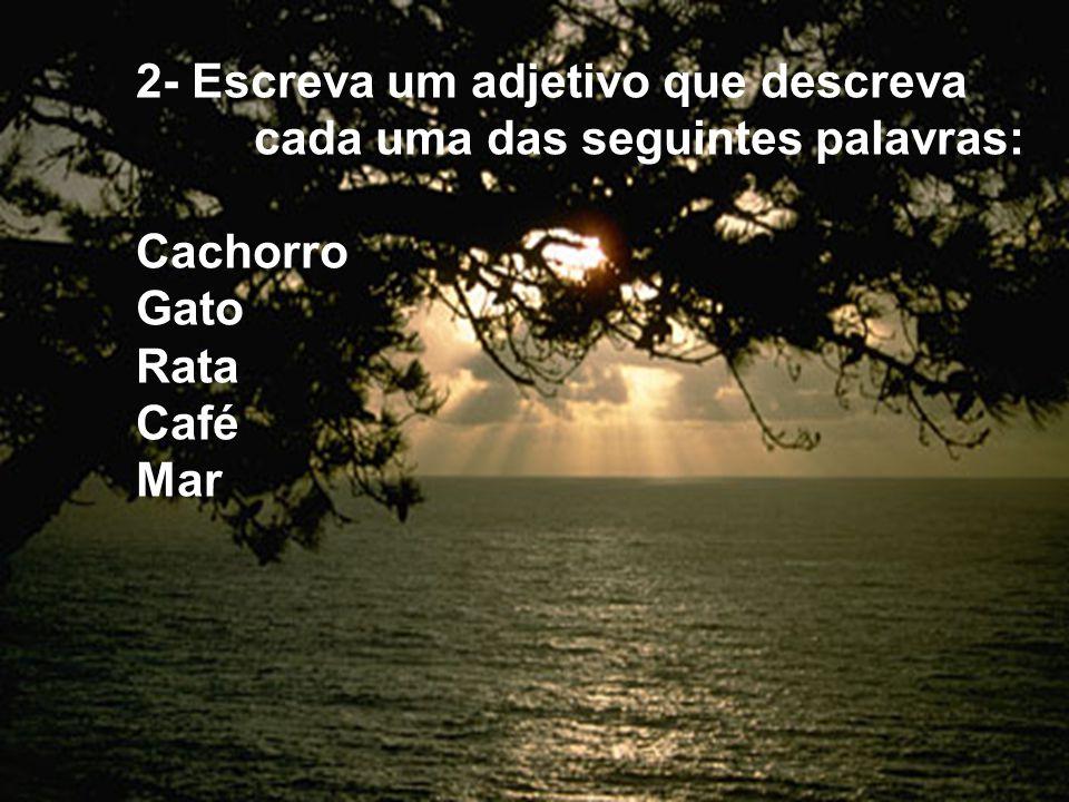 2- Escreva um adjetivo que descreva cada uma das seguintes palavras: Cachorro Gato Rata Café Mar