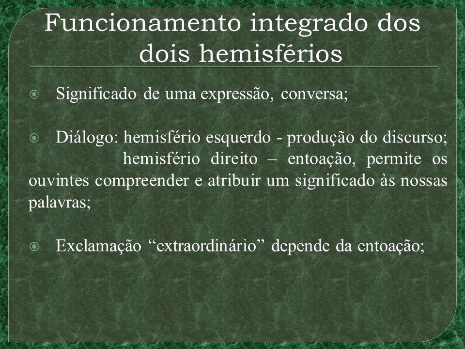 Funcionamento integrado dos dois hemisférios Significado de uma expressão, conversa; Diálogo: hemisfério esquerdo - produção do discurso; hemisfério d