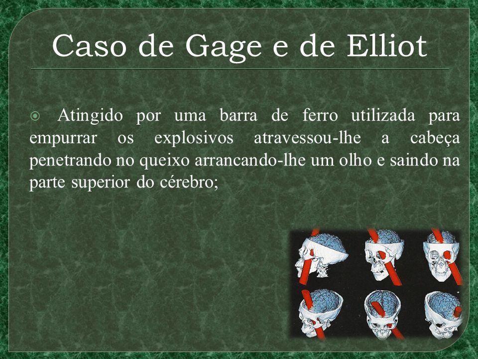 Caso de Gage e de Elliot Atingido por uma barra de ferro utilizada para empurrar os explosivos atravessou-lhe a cabeça penetrando no queixo arrancando-lhe um olho e saindo na parte superior do cérebro;