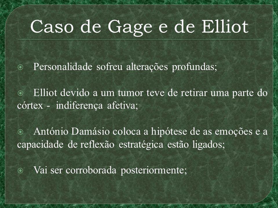 Caso de Gage e de Elliot Personalidade sofreu alterações profundas; Elliot devido a um tumor teve de retirar uma parte do córtex - indiferença afetiva