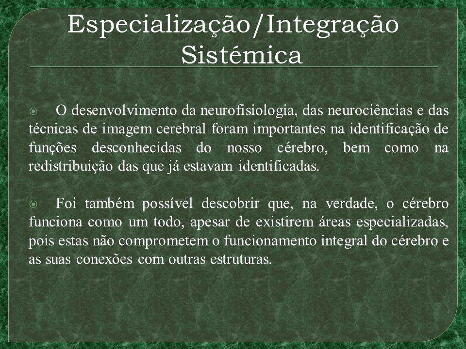 Especialização/Integração Sistémica O desenvolvimento da neurofisiologia, das neurociências e das técnicas de imagem cerebral foram importantes na ide