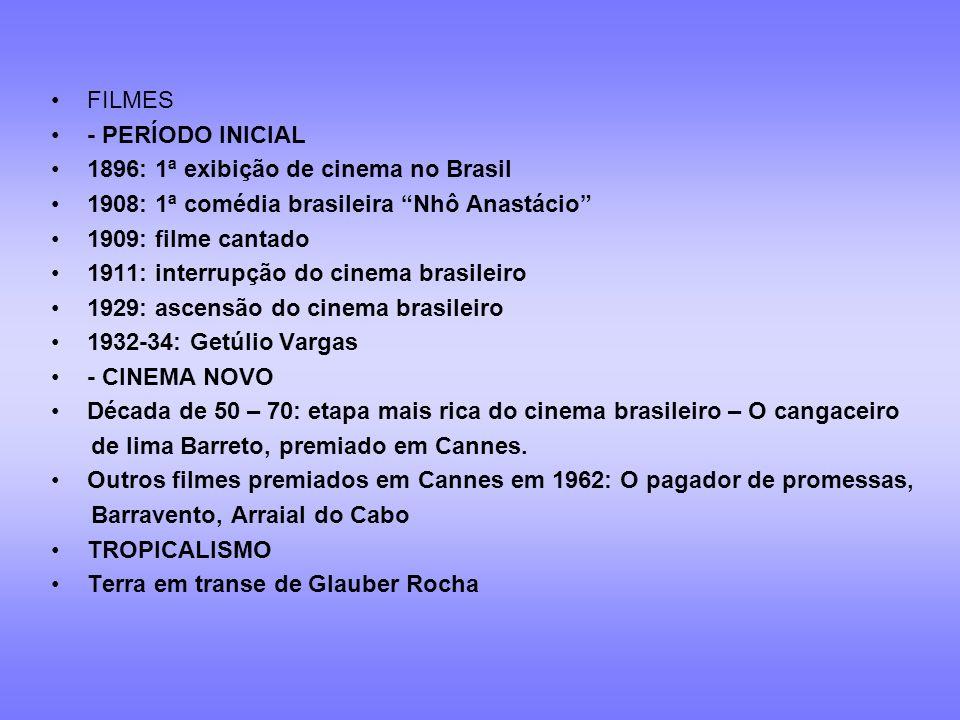 Cinema: imagem/ tempo/ movimento 1896 Período inicial do cinema Cinema novo Tropicalismo 1954 1967 1969 Cinema hoje