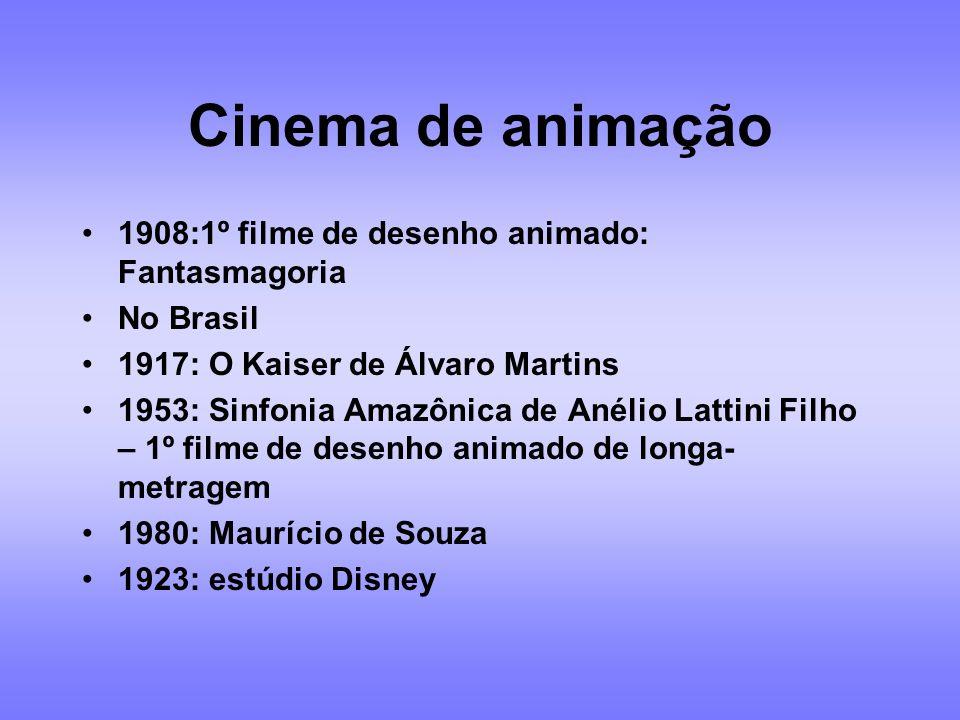 FILMES - PERÍODO INICIAL 1896: 1ª exibição de cinema no Brasil 1908: 1ª comédia brasileira Nhô Anastácio 1909: filme cantado 1911: interrupção do cine