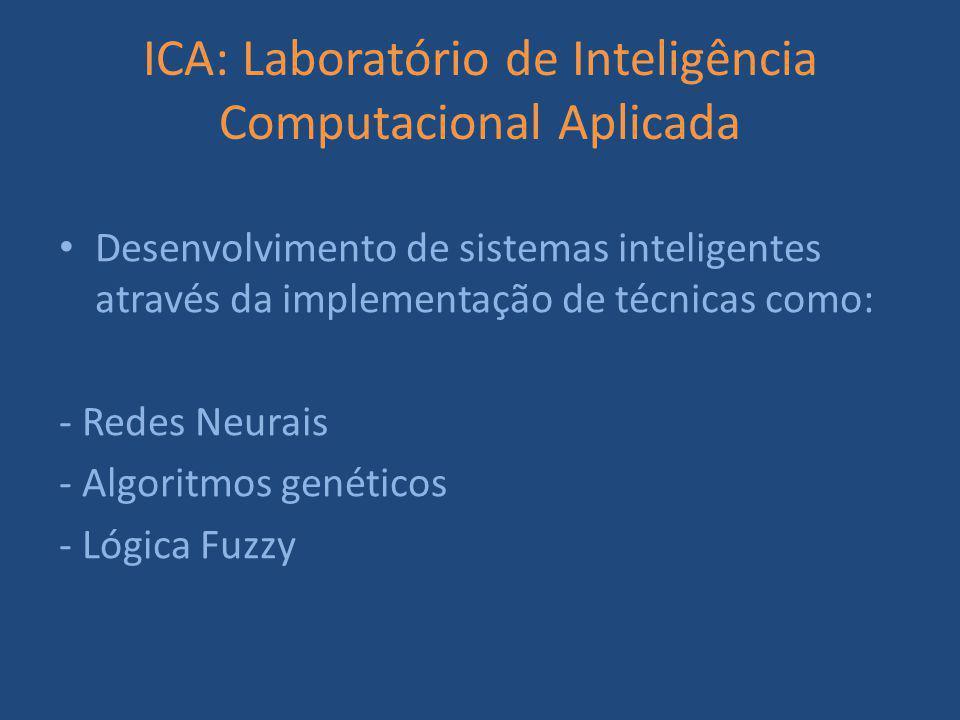 ICA: Laboratório de Inteligência Computacional Aplicada Desenvolvimento de sistemas inteligentes através da implementação de técnicas como: - Redes Neurais - Algoritmos genéticos - Lógica Fuzzy