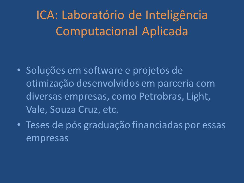 ICA: Laboratório de Inteligência Computacional Aplicada Soluções em software e projetos de otimização desenvolvidos em parceria com diversas empresas, como Petrobras, Light, Vale, Souza Cruz, etc.