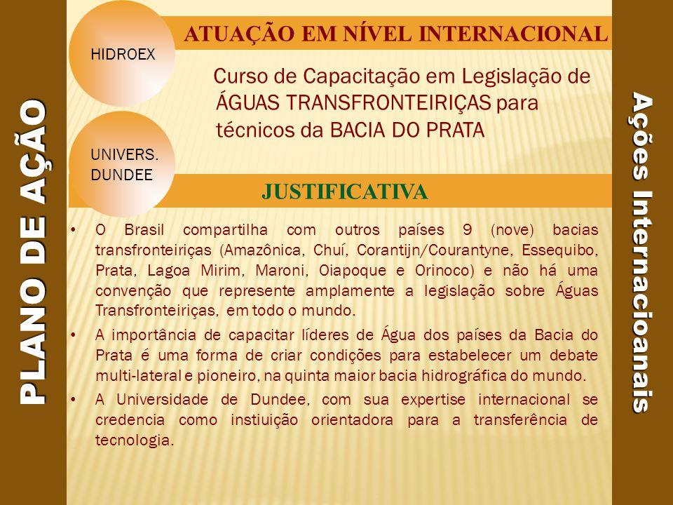 Curso de Capacitação em Legislação de ÁGUAS TRANSFRONTEIRIÇAS para técnicos da BACIA DO PRATA ATUAÇÃO EM NÍVEL INTERNACIONAL JUSTIFICATIVA Ações Internacioanais UNIVERS.