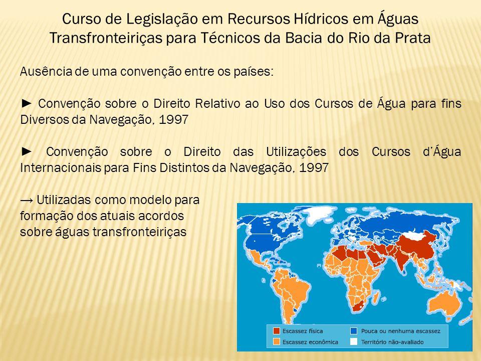 Curso de Legislação em Recursos Hídricos em Águas Transfronteiriças para Técnicos da Bacia do Rio da Prata Ausência de uma convenção entre os países: Convenção sobre o Direito Relativo ao Uso dos Cursos de Água para fins Diversos da Navegação, 1997 Convenção sobre o Direito das Utilizações dos Cursos dÁgua Internacionais para Fins Distintos da Navegação, 1997 Utilizadas como modelo para formação dos atuais acordos sobre águas transfronteiriças