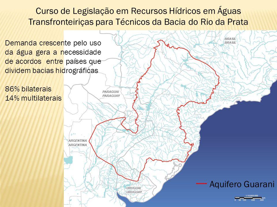 Curso de Legislação em Recursos Hídricos em Águas Transfronteiriças para Técnicos da Bacia do Rio da Prata Aquifero Guarani Demanda crescente pelo uso da água gera a necessidade de acordos entre países que dividem bacias hidrográficas 86% bilaterais 14% multilaterais