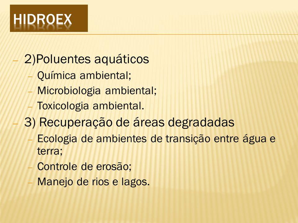 – 2)Poluentes aquáticos – Química ambiental; – Microbiologia ambiental; – Toxicologia ambiental.