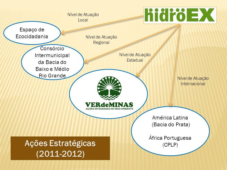 Espaço de Ecocidadania Consórcio Intermunicipal da Bacia do Baixo e Médio Rio Grande América Latina (Bacia do Prata) África Portuguesa (CPLP) Ações Estratégicas (2011-2012) Nível de Atuação Local Nível de Atuação Regional Nível de Atuação Estadual Nível de Atuação Internacional