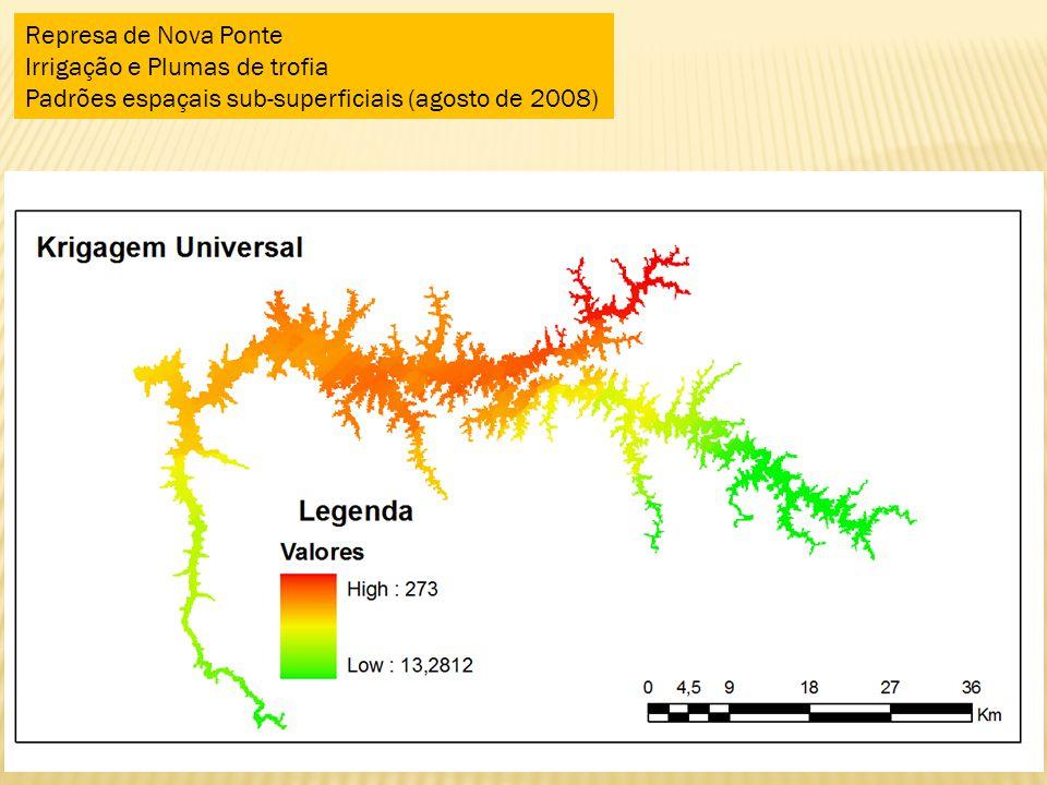 Represa de Nova Ponte Irrigação e Plumas de trofia Padrões espaçais sub-superficiais (agosto de 2008)