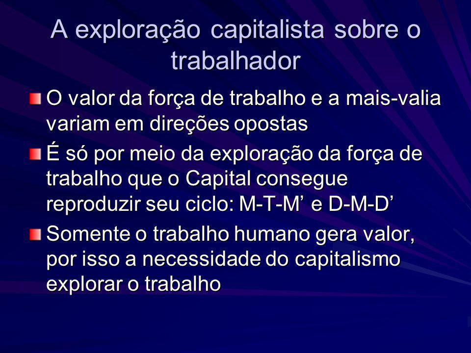 A exploração capitalista sobre o trabalhador O valor da força de trabalho e a mais-valia variam em direções opostas É só por meio da exploração da for