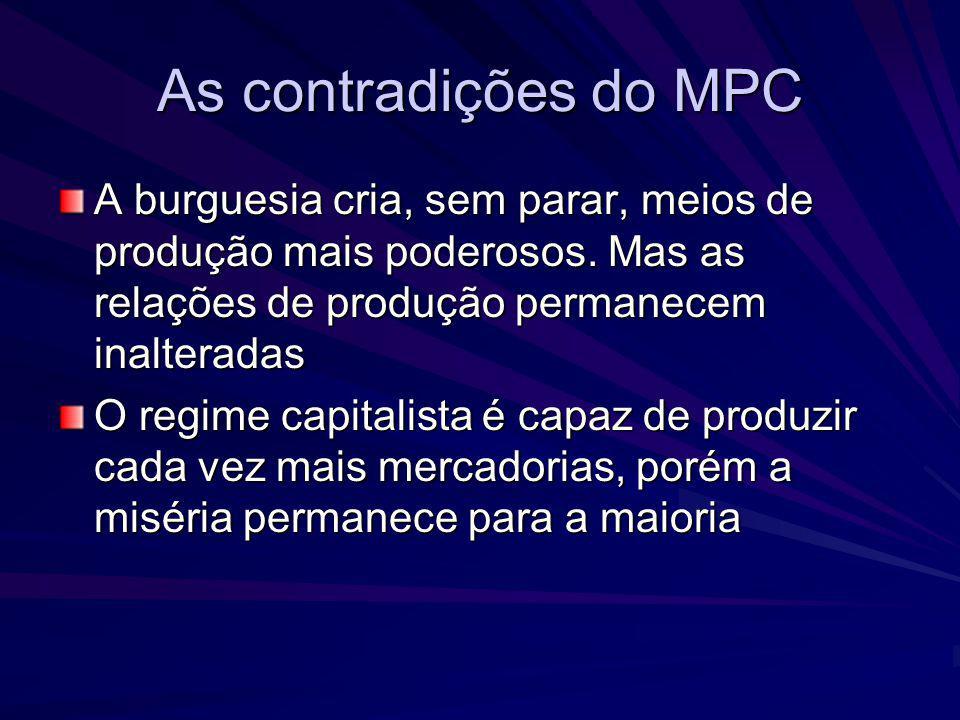 As contradições do MPC A burguesia cria, sem parar, meios de produção mais poderosos. Mas as relações de produção permanecem inalteradas O regime capi