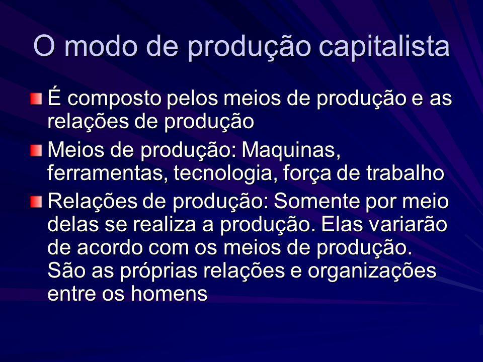 O modo de produção capitalista É apenas no intercambio entre relações de produção e forças produtivas que se transformam em capital, somente por meio do trabalho tal relação é concretizada As relações de produção condicionam as relações sociais O capital é também uma relação social de produção.