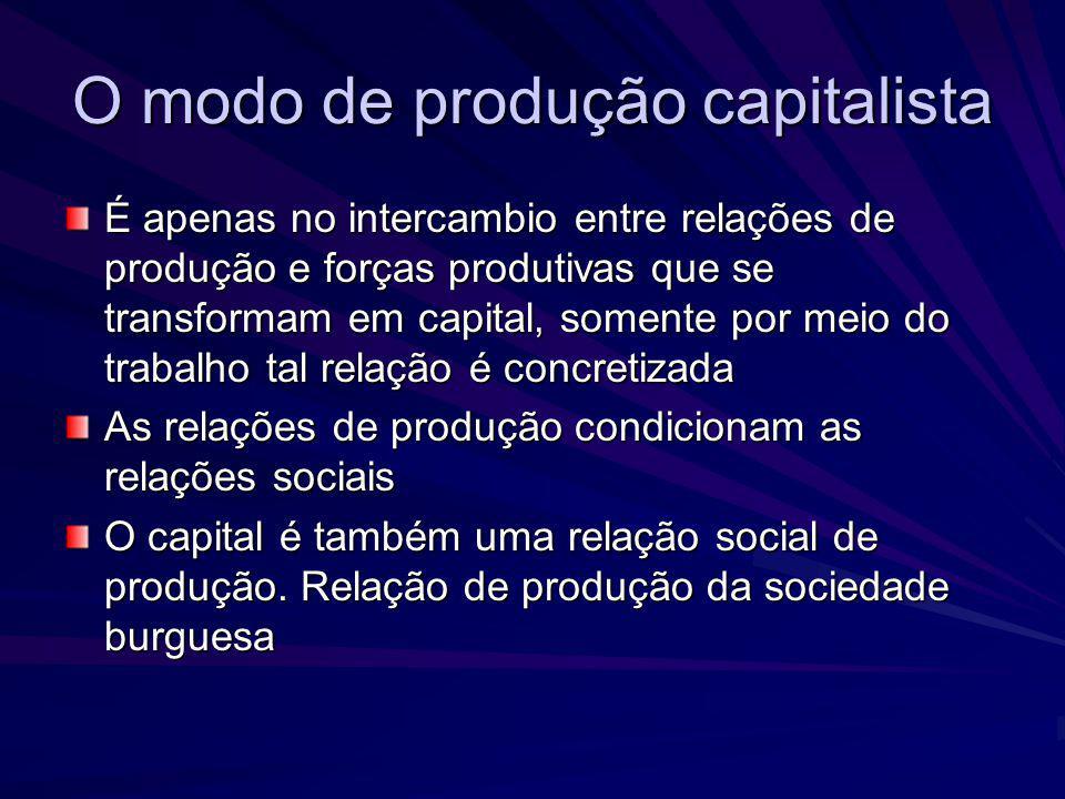 O capital como relação social de produção O capital não se constitui somente como meio de subsistência, de instrumento de trabalho e de matéria prima Forma o chamado valor de troca, em que todos os produtos de que ele se constitui são mercadorias