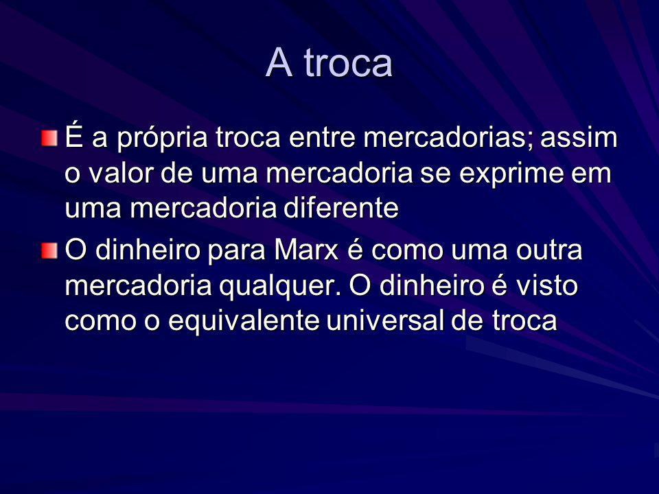 A troca É a própria troca entre mercadorias; assim o valor de uma mercadoria se exprime em uma mercadoria diferente O dinheiro para Marx é como uma ou