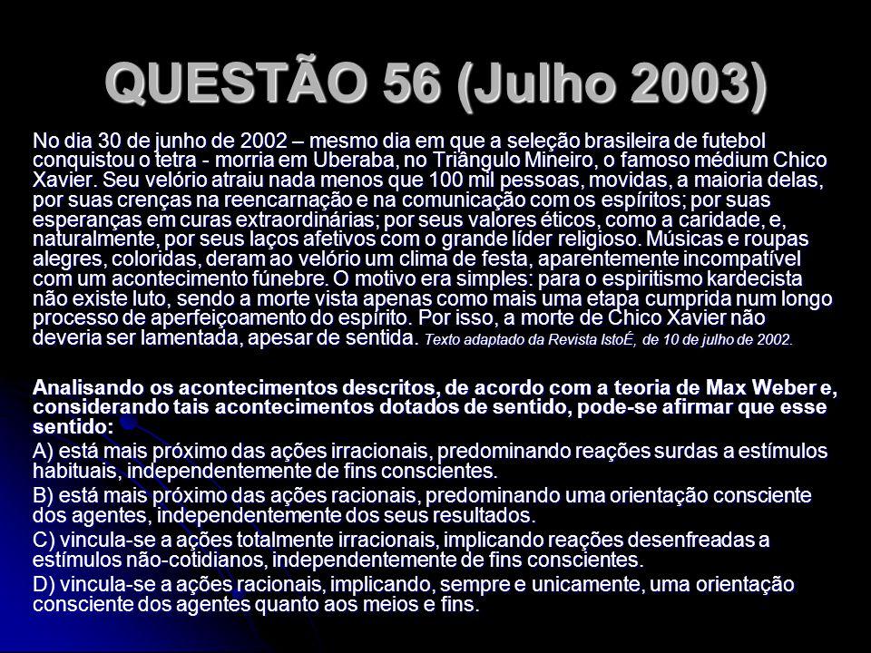QUESTÃO 56 (Julho 2003) No dia 30 de junho de 2002 – mesmo dia em que a seleção brasileira de futebol conquistou o tetra - morria em Uberaba, no Triân