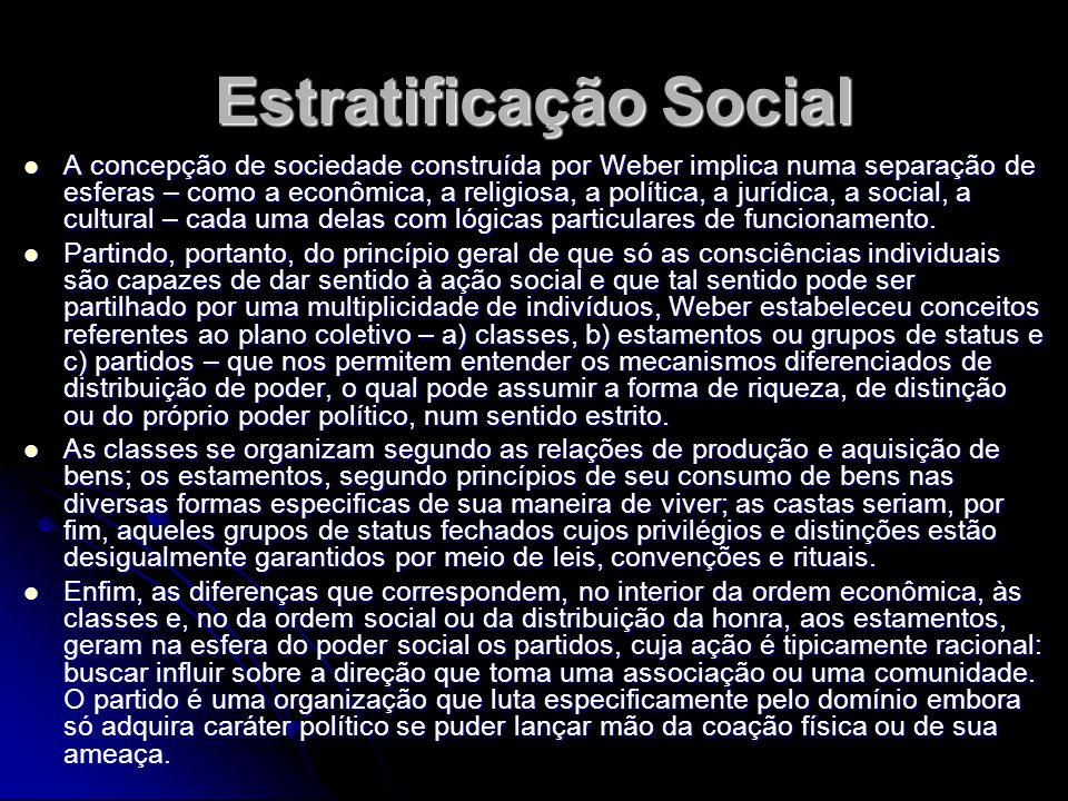 Estratificação Social A concepção de sociedade construída por Weber implica numa separação de esferas – como a econômica, a religiosa, a política, a j