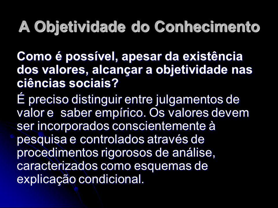 A Objetividade do Conhecimento Como é possível, apesar da existência dos valores, alcançar a objetividade nas ciências sociais? É preciso distinguir e