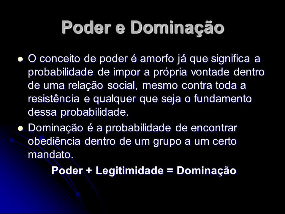 Poder e Dominação O conceito de poder é amorfo já que significa a probabilidade de impor a própria vontade dentro de uma relação social, mesmo contra