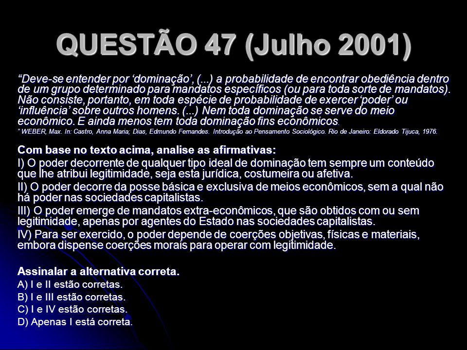 QUESTÃO 47 (Julho 2001) Deve-se entender por dominação, (...) a probabilidade de encontrar obediência dentro de um grupo determinado para mandatos esp