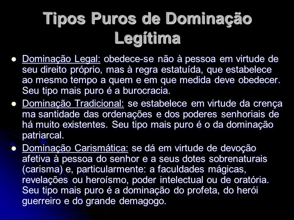 Tipos Puros de Dominação Legítima Dominação Legal: obedece-se não à pessoa em virtude de seu direito próprio, mas à regra estatuída, que estabelece ao