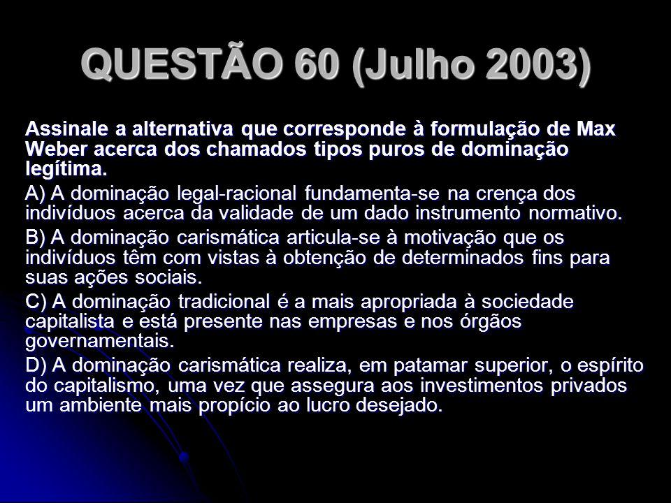 QUESTÃO 60 (Julho 2003) Assinale a alternativa que corresponde à formulação de Max Weber acerca dos chamados tipos puros de dominação legítima. A) A d