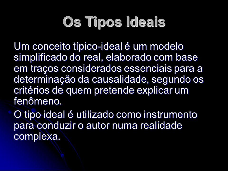 Os Tipos Ideais Um conceito típico-ideal é um modelo simplificado do real, elaborado com base em traços considerados essenciais para a determinação da