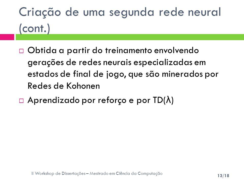 II Workshop de Dissertações – Mestrado em Ciência da Computação 13/18 Criação de uma segunda rede neural (cont.) Obtida a partir do treinamento envolv