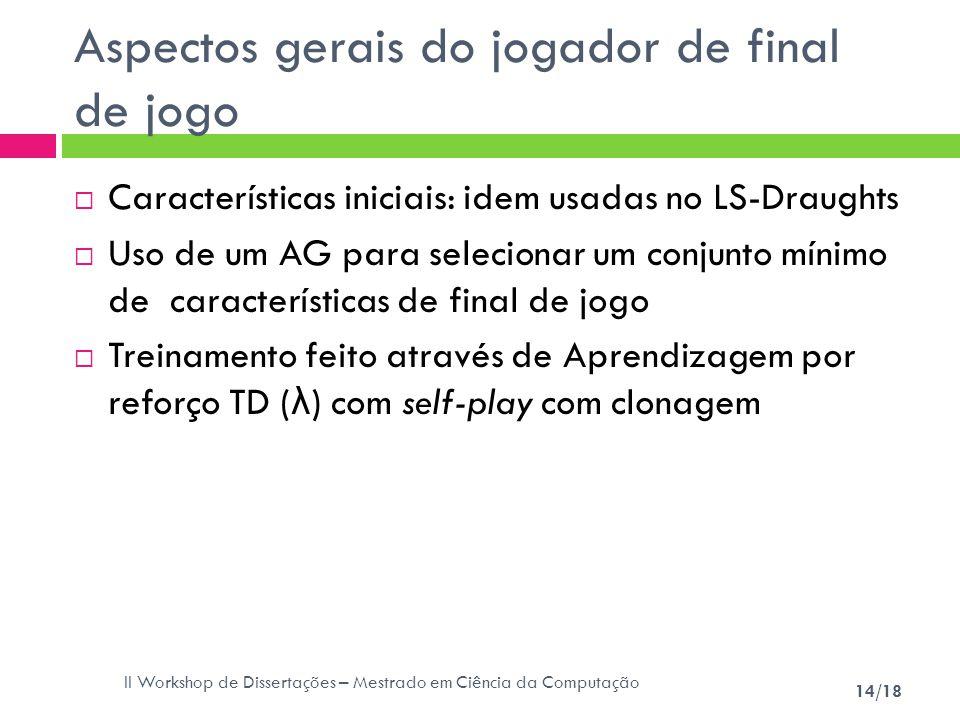 II Workshop de Dissertações – Mestrado em Ciência da Computação 14/18 Aspectos gerais do jogador de final de jogo Características iniciais: idem usada