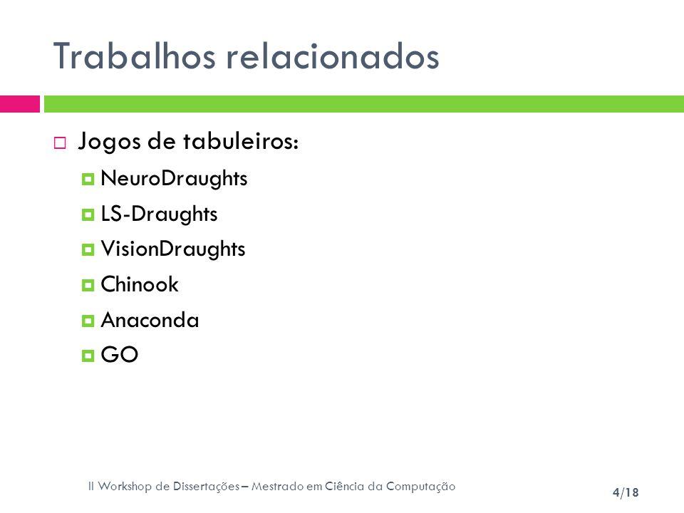 II Workshop de Dissertações – Mestrado em Ciência da Computação 4/18 Trabalhos relacionados Jogos de tabuleiros: NeuroDraughts LS-Draughts VisionDraug
