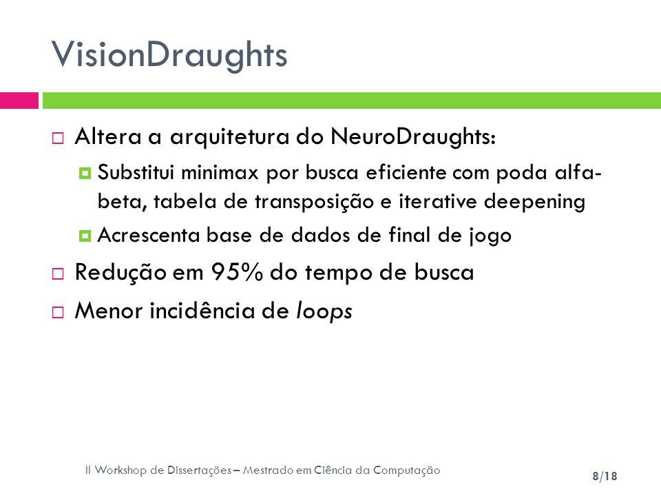 II Workshop de Dissertações – Mestrado em Ciência da Computação 8/18 VisionDraughts Altera a arquitetura do NeuroDraughts: Substitui minimax por busca