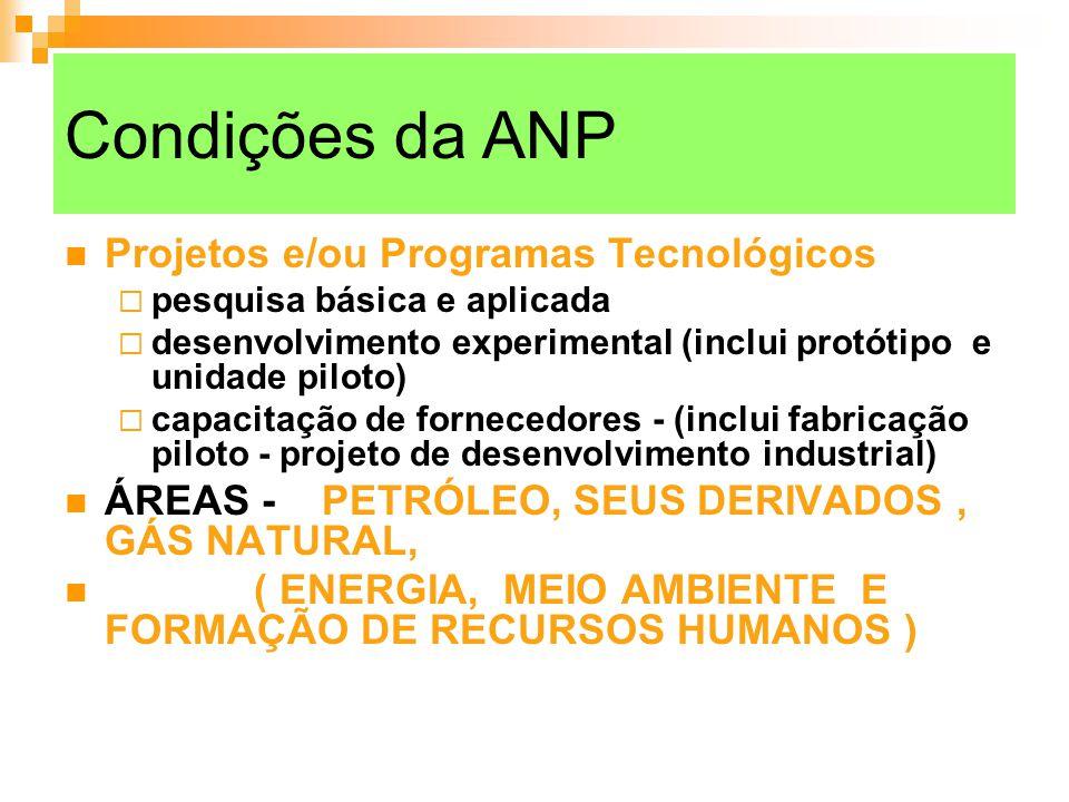 Condições da ANP Projetos e/ou Programas Tecnológicos pesquisa básica e aplicada desenvolvimento experimental (inclui protótipo e unidade piloto) capa