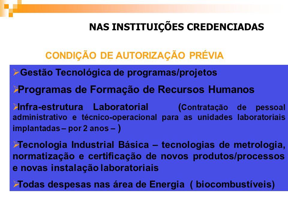 NAS INSTITUIÇÕES CREDENCIADAS Gestão Tecnológica de programas/projetos Programas de Formação de Recursos Humanos Infra-estrutura Laboratorial ( Contra