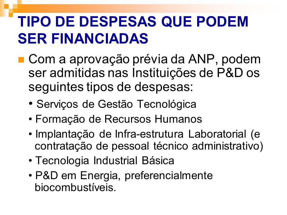 TIPO DE DESPESAS QUE PODEM SER FINANCIADAS Com a aprovação prévia da ANP, podem ser admitidas nas Instituições de P&D os seguintes tipos de despesas: