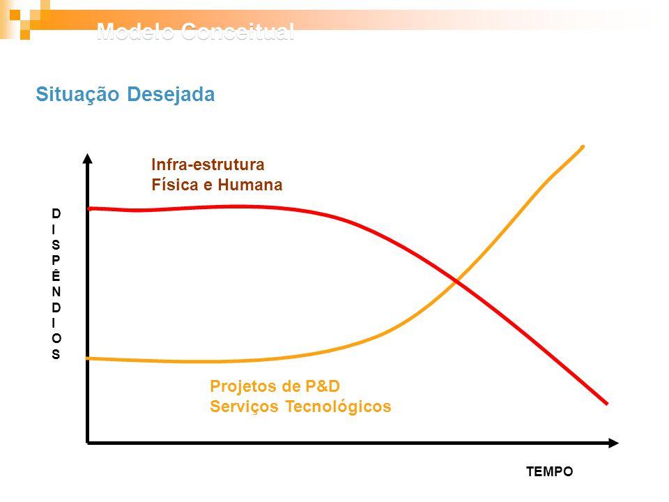 Infra-estrutura Física e Humana Projetos de P&D Serviços Tecnológicos TEMPO DISPÊNDIOSDISPÊNDIOS Situação Desejada Modelo Conceitual