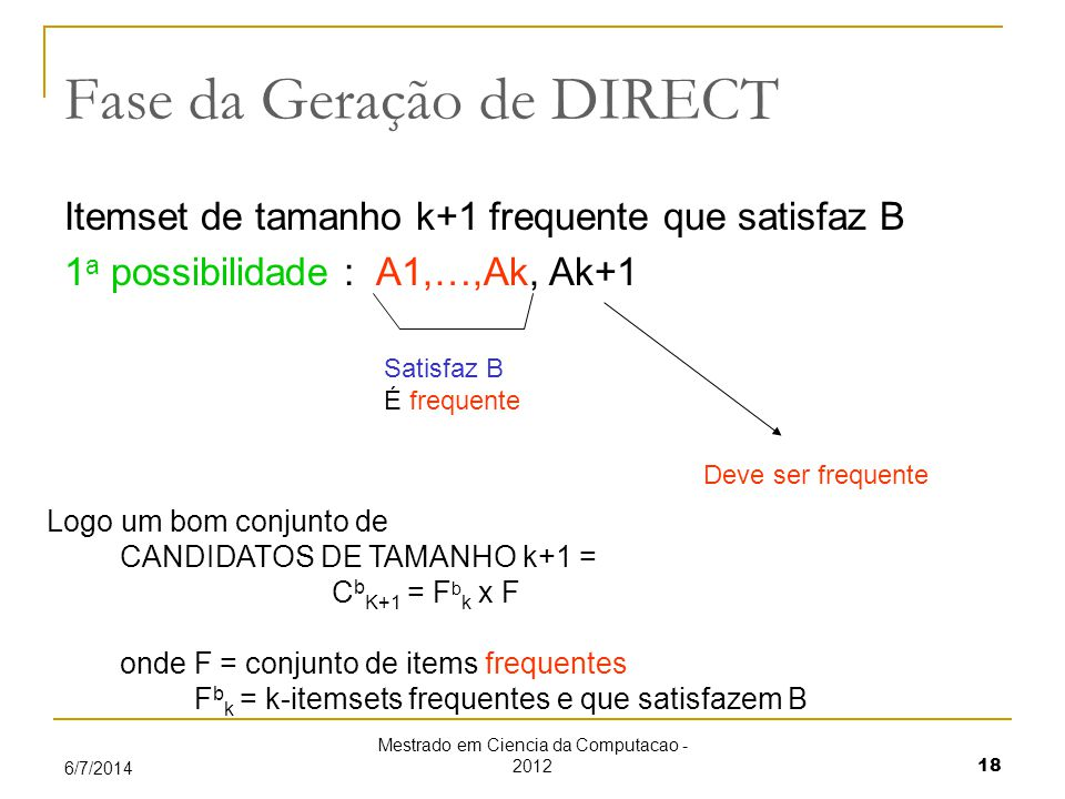 Mestrado em Ciencia da Computacao - 2012 18 6/7/2014 Fase da Geração de DIRECT Itemset de tamanho k+1 frequente que satisfaz B 1 a possibilidade : A1,…,Ak, Ak+1 Satisfaz B É frequente Deve ser frequente Logo um bom conjunto de CANDIDATOS DE TAMANHO k+1 = C b K+1 = F b k x F onde F = conjunto de items frequentes F b k = k-itemsets frequentes e que satisfazem B