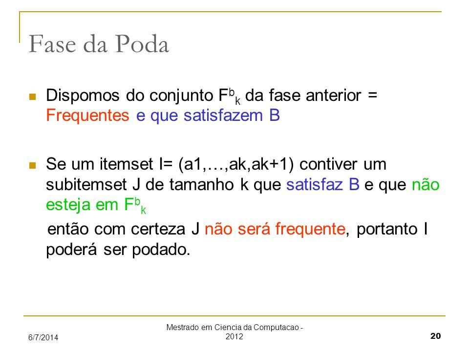 Mestrado em Ciencia da Computacao - 2012 20 6/7/2014 Fase da Poda Dispomos do conjunto F b k da fase anterior = Frequentes e que satisfazem B Se um itemset I= (a1,…,ak,ak+1) contiver um subitemset J de tamanho k que satisfaz B e que não esteja em F b k então com certeza J não será frequente, portanto I poderá ser podado.