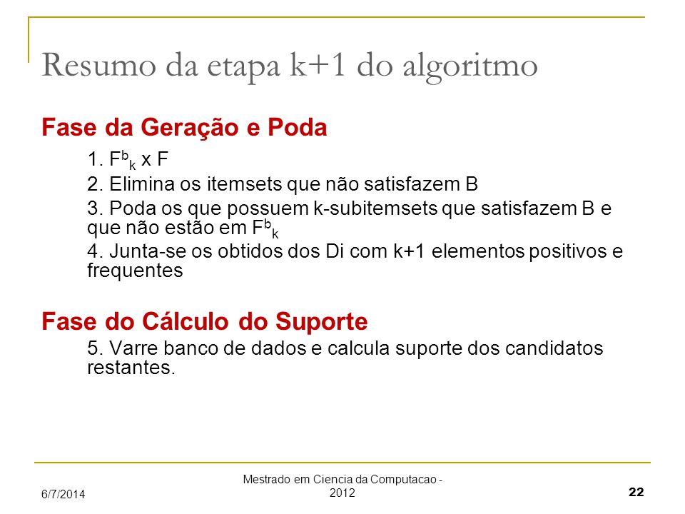 Mestrado em Ciencia da Computacao - 2012 22 6/7/2014 Resumo da etapa k+1 do algoritmo Fase da Geração e Poda 1.