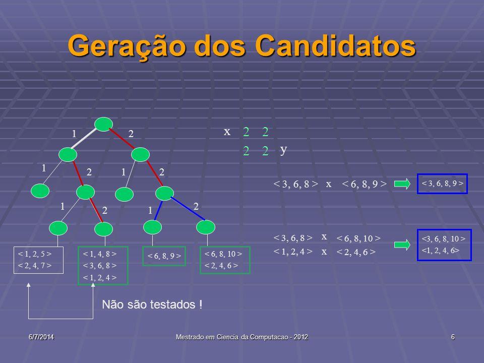 6/7/2014Mestrado em Ciencia da Computacao - 20126 Geração dos Candidatos 1 2 1 2 1 2 12 2 x 22 1 22 y x xxxx Não são testados !