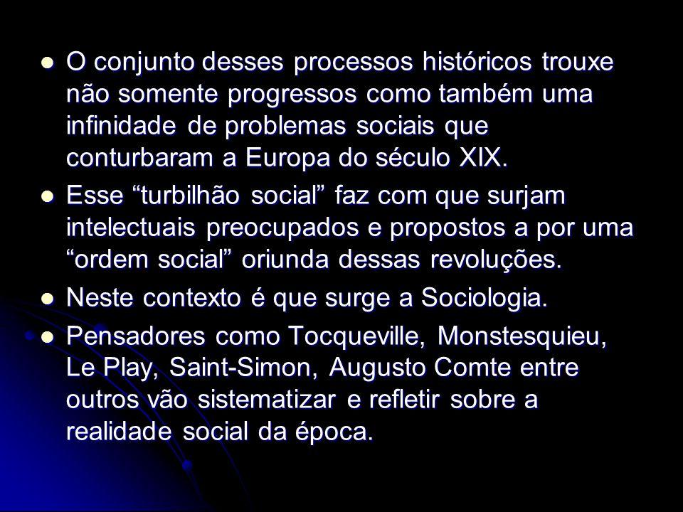 O conjunto desses processos históricos trouxe não somente progressos como também uma infinidade de problemas sociais que conturbaram a Europa do sécul