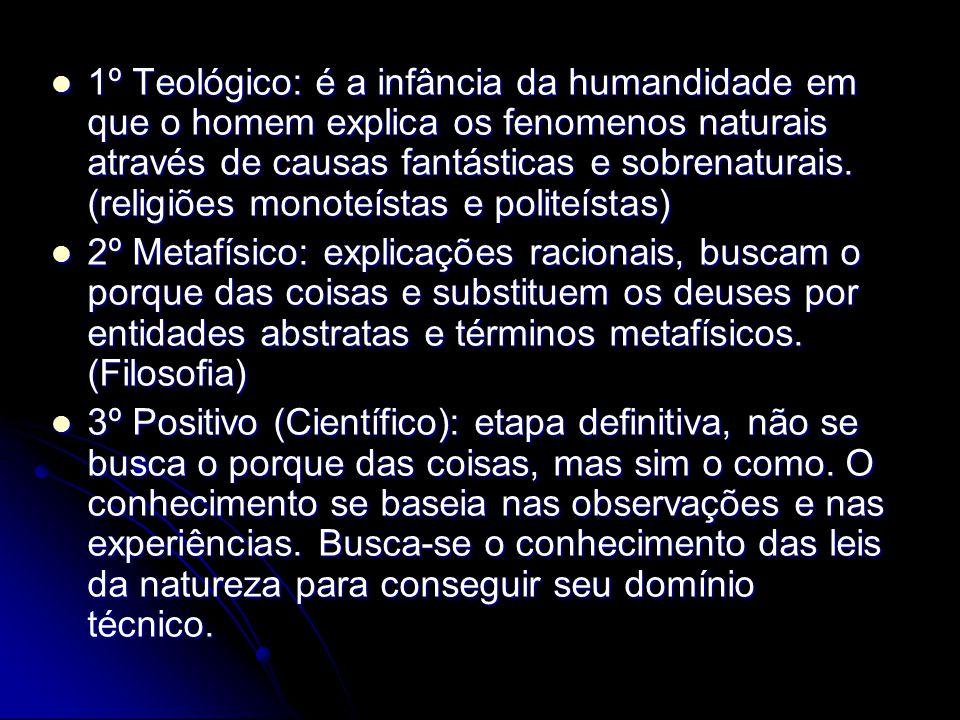 1º Teológico: é a infância da humandidade em que o homem explica os fenomenos naturais através de causas fantásticas e sobrenaturais. (religiões monot
