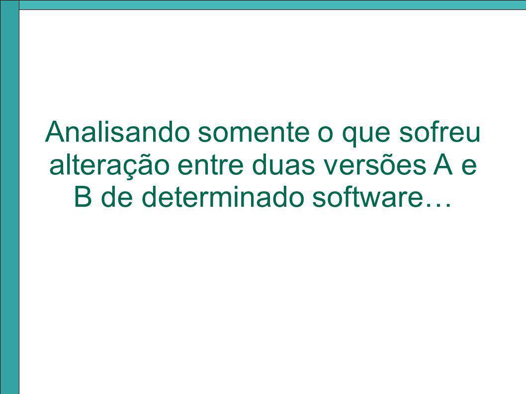Analisando somente o que sofreu alteração entre duas versões A e B de determinado software…