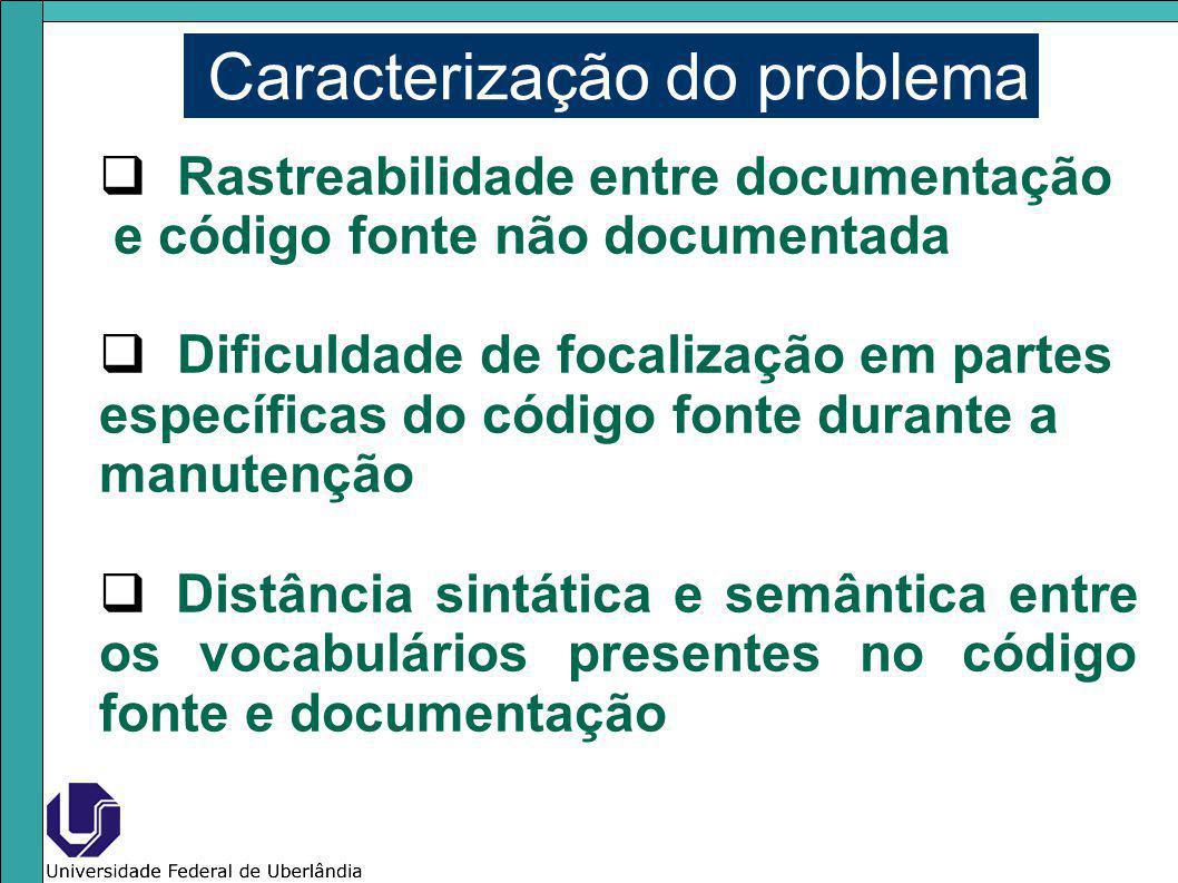 Caracterização do problema Rastreabilidade entre documentação e código fonte não documentada Dificuldade de focalização em partes específicas do códig