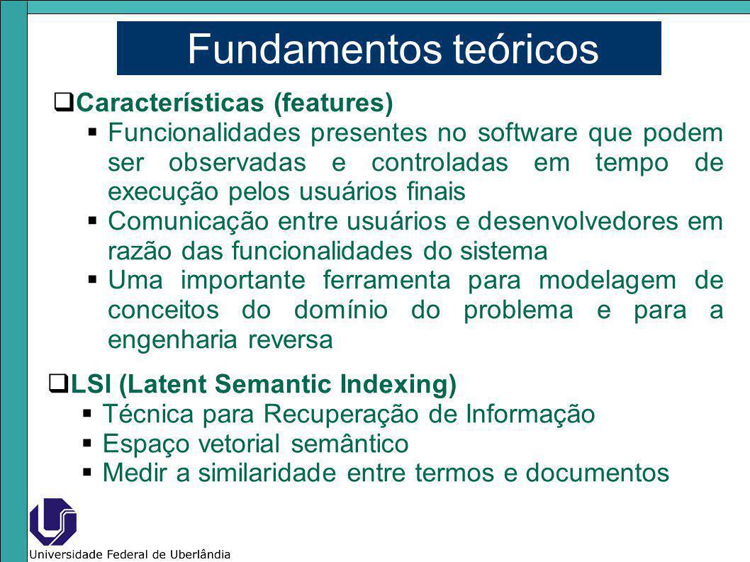 Fundamentos teóricos Características (features) Funcionalidades presentes no software que podem ser observadas e controladas em tempo de execução pelo