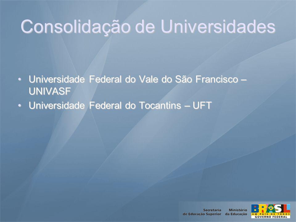 Consolidação de Universidades Universidade Federal do Vale do São Francisco – UNIVASFUniversidade Federal do Vale do São Francisco – UNIVASF Universidade Federal do Tocantins – UFTUniversidade Federal do Tocantins – UFT