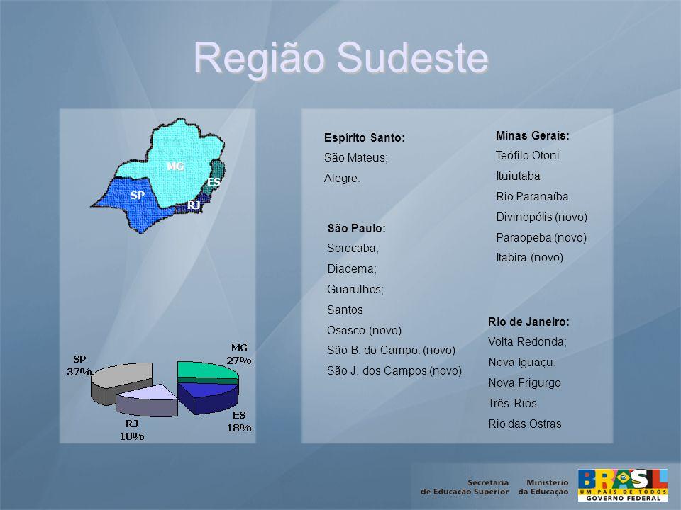 Região Sudeste SP MG RJ ES Minas Gerais: Teófilo Otoni.