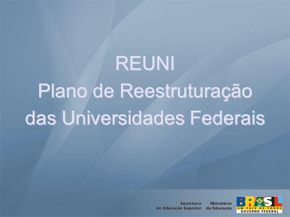 REUNI Plano de Reestruturação das Universidades Federais