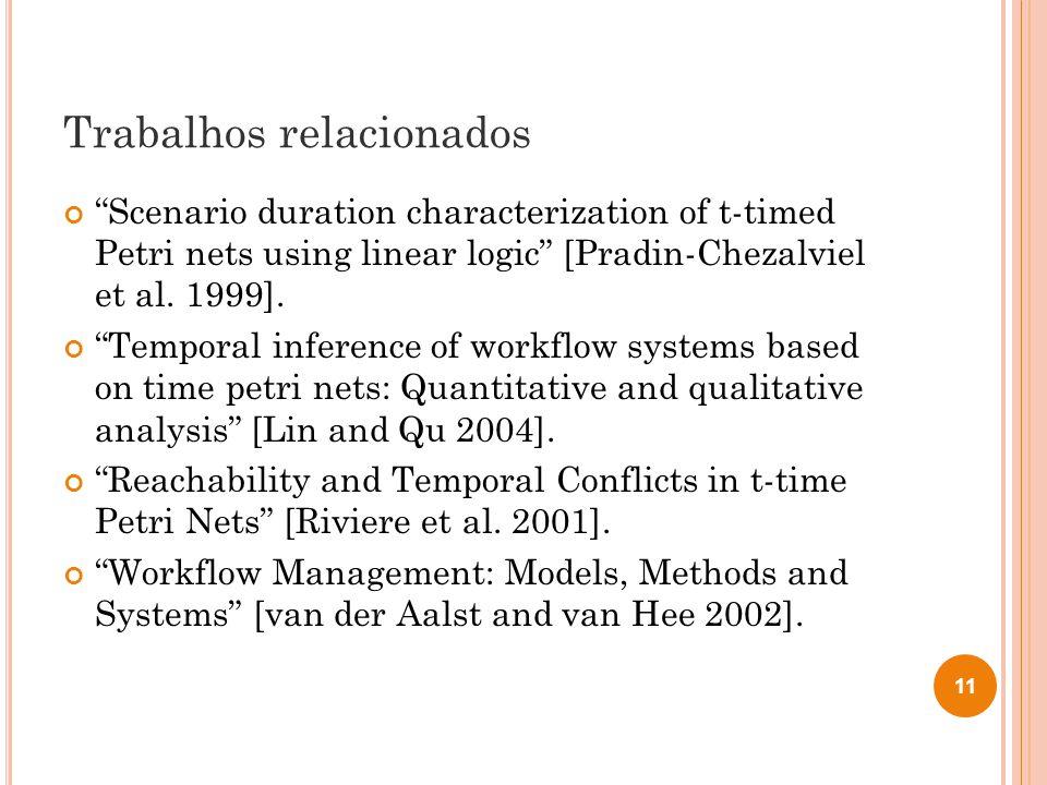Trabalhos relacionados Scenario duration characterization of t-timed Petri nets using linear logic [Pradin-Chezalviel et al. 1999]. Temporal inference