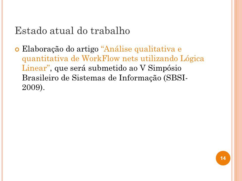 Estado atual do trabalho Elaboração do artigo Análise qualitativa e quantitativa de WorkFlow nets utilizando Lógica Linear, que será submetido ao V Simpósio Brasileiro de Sistemas de Informação (SBSI- 2009).